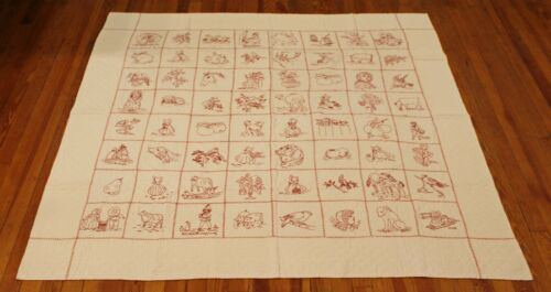 Antique Embroidered Redwork 64 Penny Square Quilt