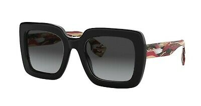 Burberry STRIPED CHECK BE 4284 Black/Grey Shaded Polarized (3803/T3) Sunglasses Burberry Oversize Round Sunglasses