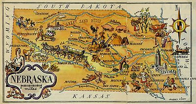 Nebraska Antique Vintage Pictorial Map