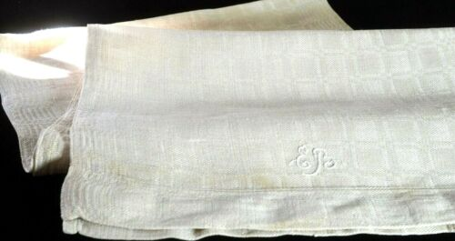 PRIMITIVE Hand Woven Extra Long Linen TOWEL EB MONOGRAM VV115