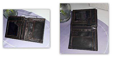 Geldbeutel Geldbörse - Echt Leder - schwarz