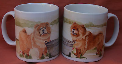 CHOW CHOW DOG MUG OFF TO THE DOG SHOW WATERCOLOUR PAINTING SANDRA COEN ARTIST