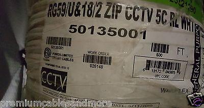 Honeywell Genesis Cable 5013 RG59/U + 18/2C Premium Siamese CCTV Camera WHT/50ft