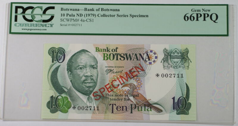 (1979) Botswana 10 Pula Specimen Note SCWPM# 4a-CS1 PCGS 66 PPQ Gem New