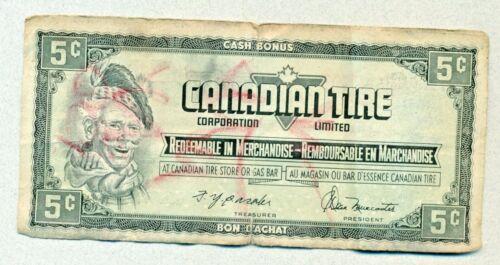 CANADIAN TIRE CASH BONUS 5 CENTS CERTIFICATE