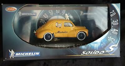 1:43 SOLIDO RENAULT 4CV 1954 MICHELIN TIRES TYRES 82102 Made France in BOX