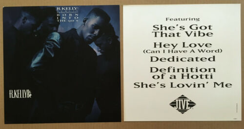 R. KELLY Rare 1991 SET of 2 DOUBLE SIDED PROMO POSTER FLAT for Born CD MINT R