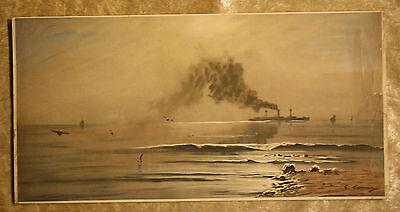 Dampfschiff nach C.Romin-Original Chromotypie um 1900-39,5x52,0 cm-DAM Sachsen