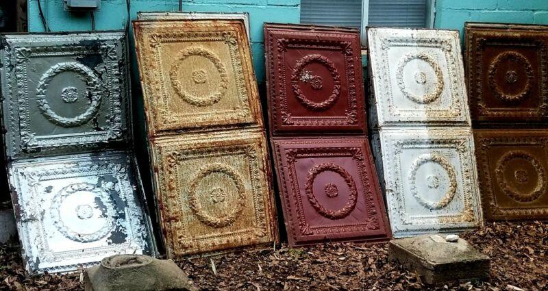 Architectutally Salvaged Vintage Antique Tin Ceiling Tile