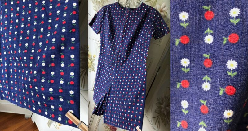 VTG 60s COTTON BLUE RED APPLES DAISIES PLAY SUIT SHORTS ROMPER ONE-PIECE EUC