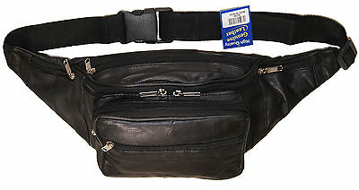 Leather Jumbo Sized Seven Zipper Pouch Concealed Holster Fanny Pack Bag