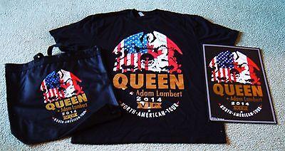 QUEEN & ADAM LAMBERT CONCERT  TOUR 2014 VIP POSTER, XL T-SHIRT & TOTE BAG NEW