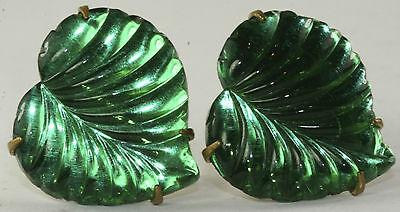 1930'S VINTAGE ANTIQUE ART DECO GREEN MIRROR GLASS LEAF SCREW EARRINGS