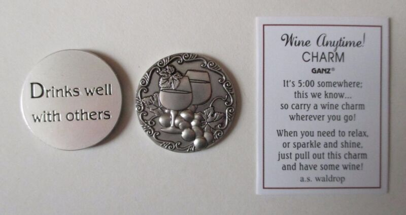 zzd 1x Drinks well with others WINE ANYTIME Pocket Token Charm ganz party favor