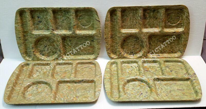 Set of 4 PROLON WARE Melamine School Cafeteria Lunch Tray Confetti 9953 GREEN