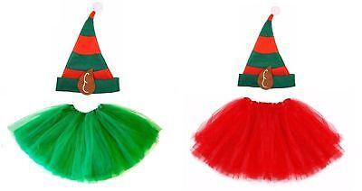 ristmas ELF HAT & TUTU Party Fancy Skirt Dress Santa Helper  (Kid Elfen Kostüme)