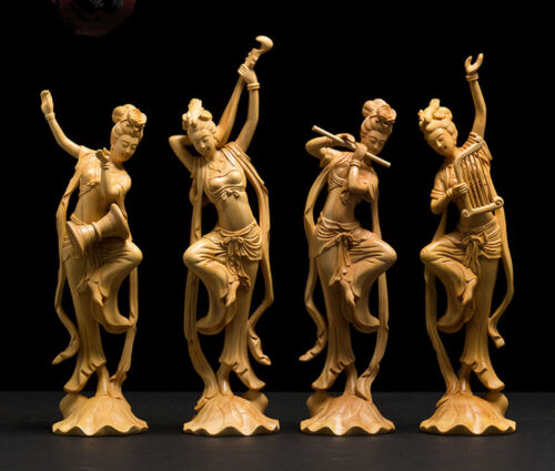 LS027 -- 25 CM High Carved Boxwood Carving : Set of Beauties Dunhuang flying sky