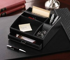 Black faux leather office desk organizer with drawer new - Black leather desk organizer ...