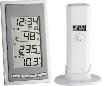 TFA Diva Go Funk-Thermometer Hygrometer LC-Display Messgerät Außensensor Grau