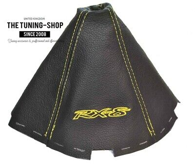 """For Mazda RX-8 4 Panels Shift Boot Gaiter Leather """"RX-8"""" Yellow Embroidery"""