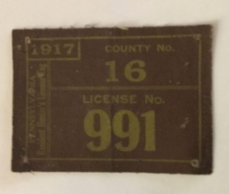 1917 PA Hunting License- County 16