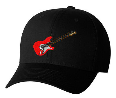 - Electric Guitar Embroidered Baseball Cap Hat 3 Colors Gibson Fender Rock & Roll