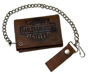 Harley-Davidson Men's Bar & Shield Tri-Fold Biker Chain Wallet Leather TC313H