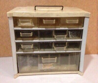 Vintage Metal 8-drawer Storage Cabinet Marble Plastic Top Mid Century