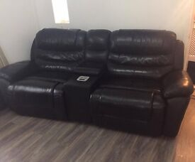 two high grade black leather settees £600 ono