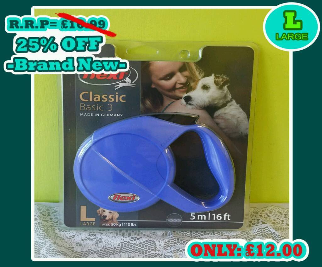 BRAND NEW -Flexi 2 Classic Basic Cord Dog Lead Blue - Large - 5m