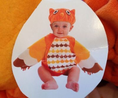 Owl Costume Infant 0-9 Months Plush Baby 2 piece Wings Woot Hat Easy On Easy - Owl Wings Costume