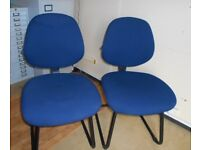 x2 Blue Upholstered Office / Desk / Meeting Room / Spare Dining Chairs