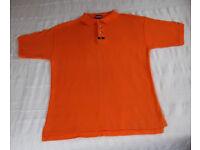 POLO SHIRT: Donnay men's orange 100% cotton short sleeve polo shirt. Size L.