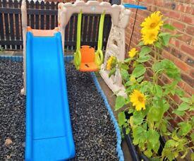 Toddler swing and slide set