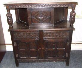 Carved Dark Oak Vintage Court/Buffet Cupboard/Unit 1230 x 525 x 1355