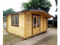 HUGE SPEC! EX DISPLAY LOG CABIN 4.5 x 3.5 m - 14' x 11' ft
