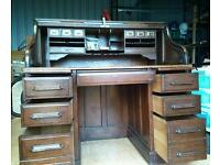 Angus of London oak roll top desk. Approx 1920. Rescued from old colliery building in county Durham
