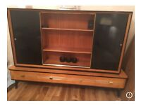 Bookcase wood vintage retro 1950s Mid Century SideBoard Credenza Drinks Cabinet Storage Shelves