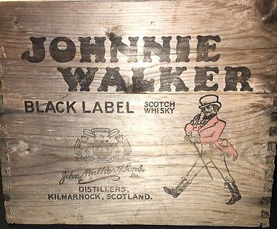 Johnnie Walker *rare* vintage BLACK LABEL wooden crate  distillery advertising