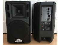 Pair of 150w W-Audio PSR-8A Powered Active Speakers (With padded bags) - 150WRMS