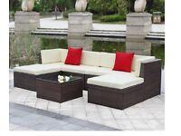 URGENT SALE: 7PCS Outdoor Ottoman Corner Couch Set Rattan Wicker + Storage Chest