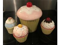 4 Ceramic Cupcake lidded pots, in lovely condition. Cookie jar/ 20 years old/ vintage