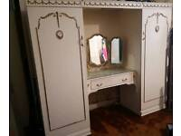 Vintage french louis style double wardrobe with built in dressing table and mirror