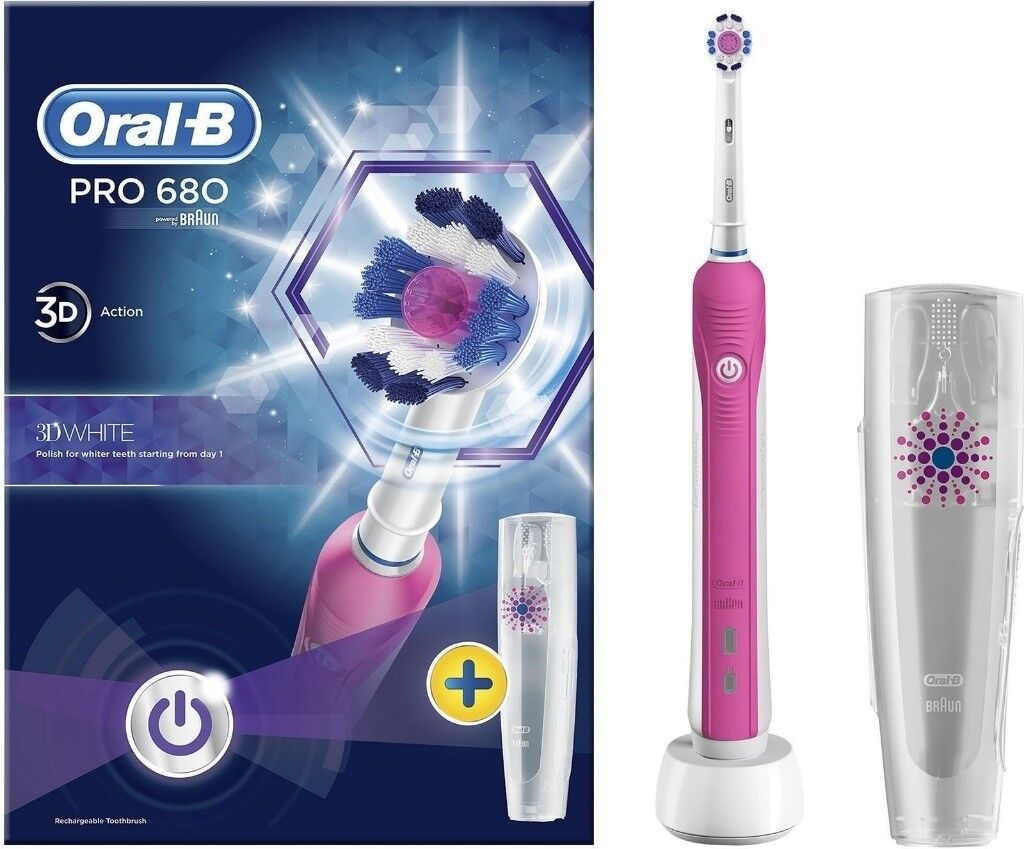 Oral-B Pro 680 3D White Electric Rechargeable Pink Toothbrush With Case 2c274c22add5