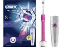 Oral-B Pro 680 3D White Electric Rechargeable Pink Toothbrush With Case