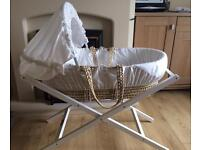 Mamas & Papas Moses basket with stand, mattress and two fitted sheets