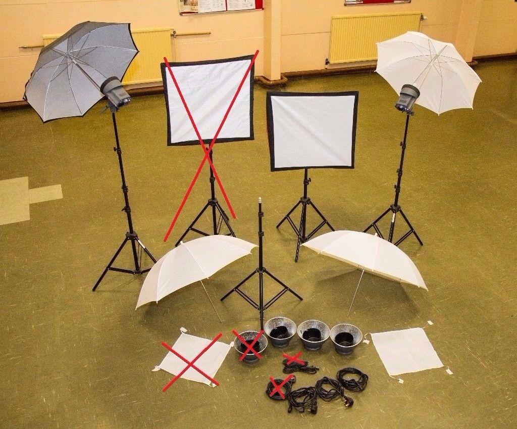 Interfix EX150 MK2 Studio Lights (*3), Softbox (*1), Umbrellas (*4) and Gold/Silver/White Reflector