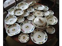 Antique 1920's Adams Royal Ivory Titian Ware Hand Painted Fruits Design Crockery 26 Pieces