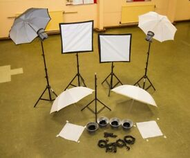 Interfix EX150 MK2 Studio Lights (*4), Softbox (*2), Umbrellas (*4) and Gold/Silver/White Reflector