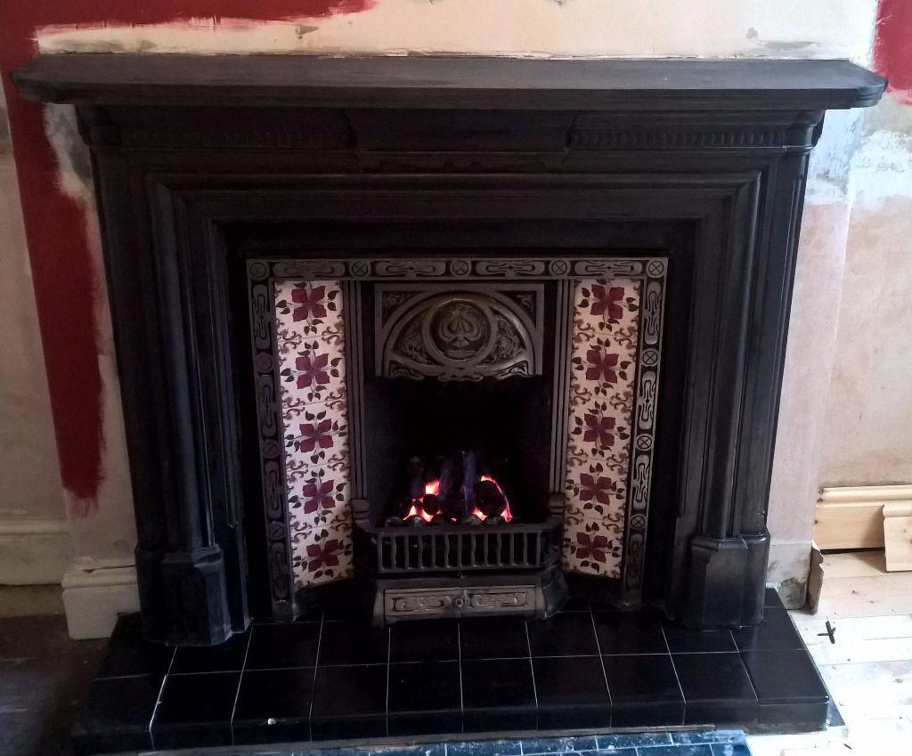 agnews victorian reproduction tiled insert cast iron. Black Bedroom Furniture Sets. Home Design Ideas